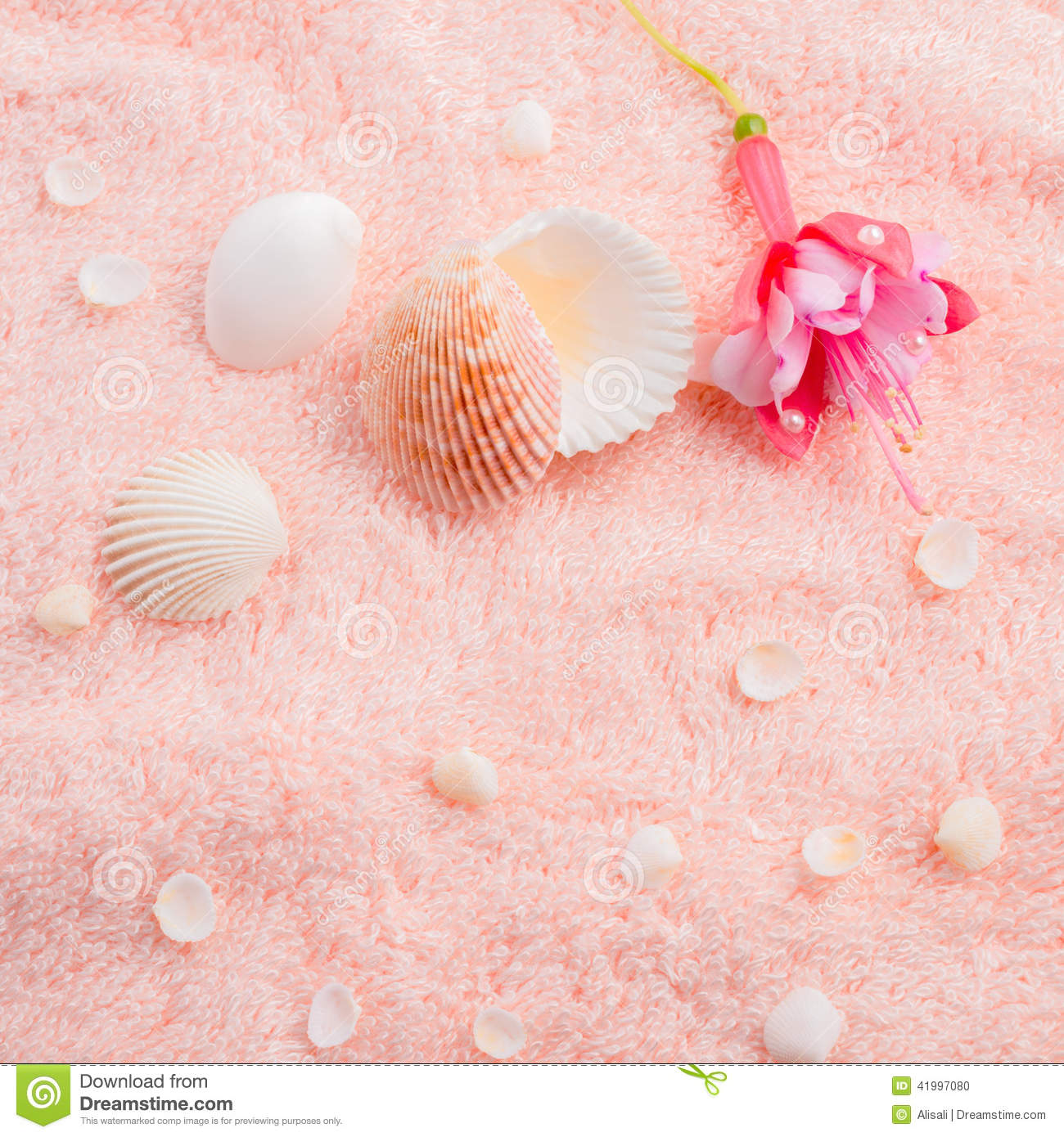 Spa Soft Concept With Delicate Pink Flower Fuchsia