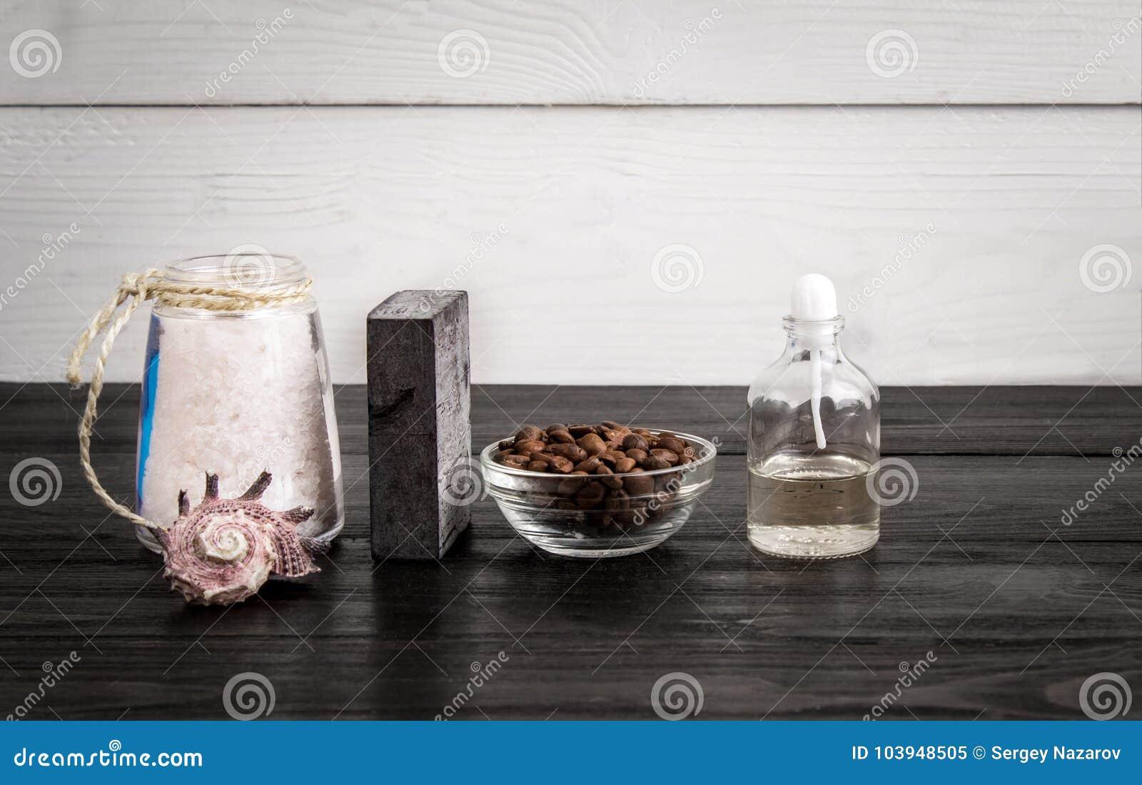 Spa Still Life. Aroma Oils, Stones, Soap, Sea Salt And Coffee Beans ...