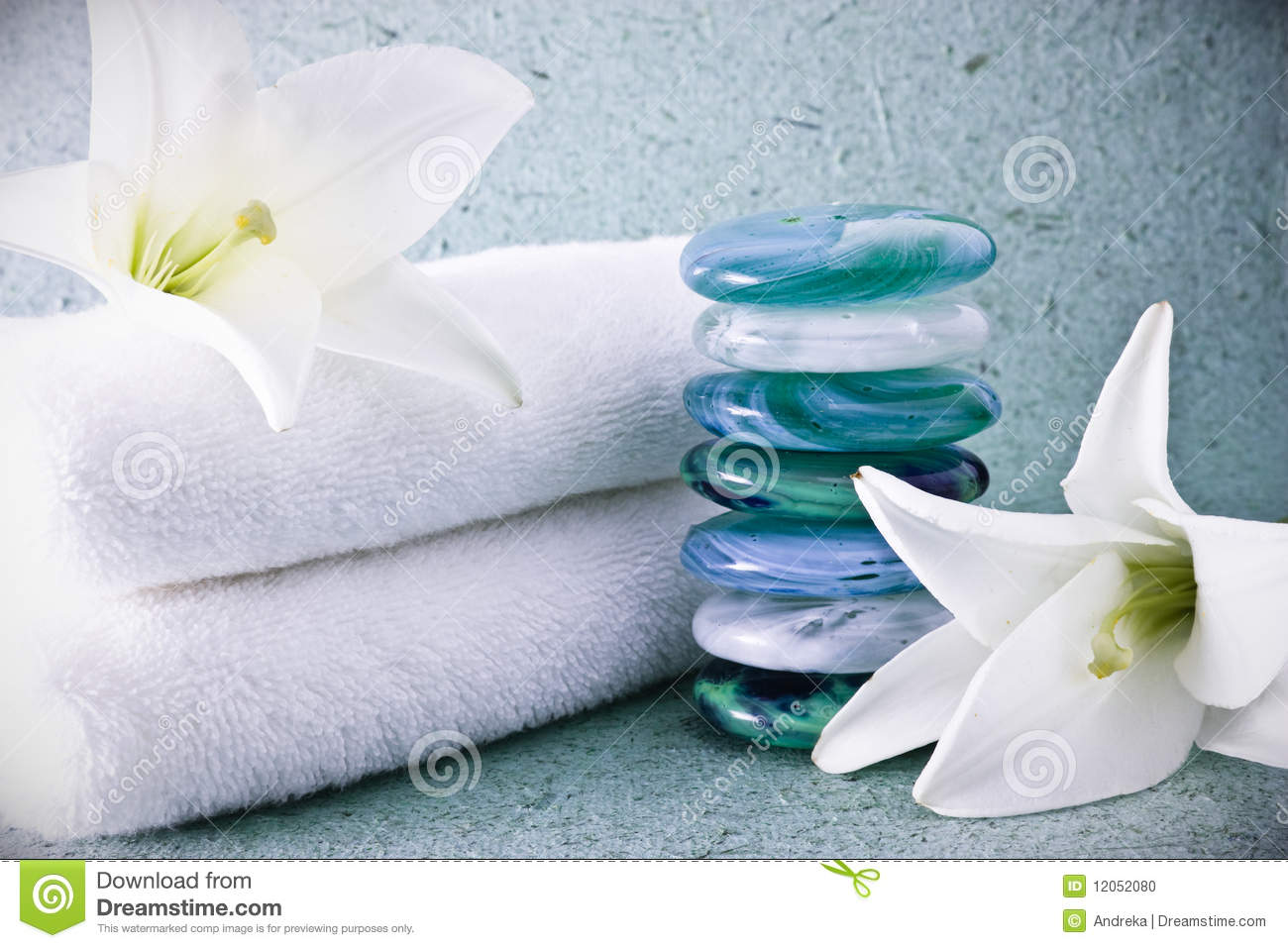 Spa stones and lilies