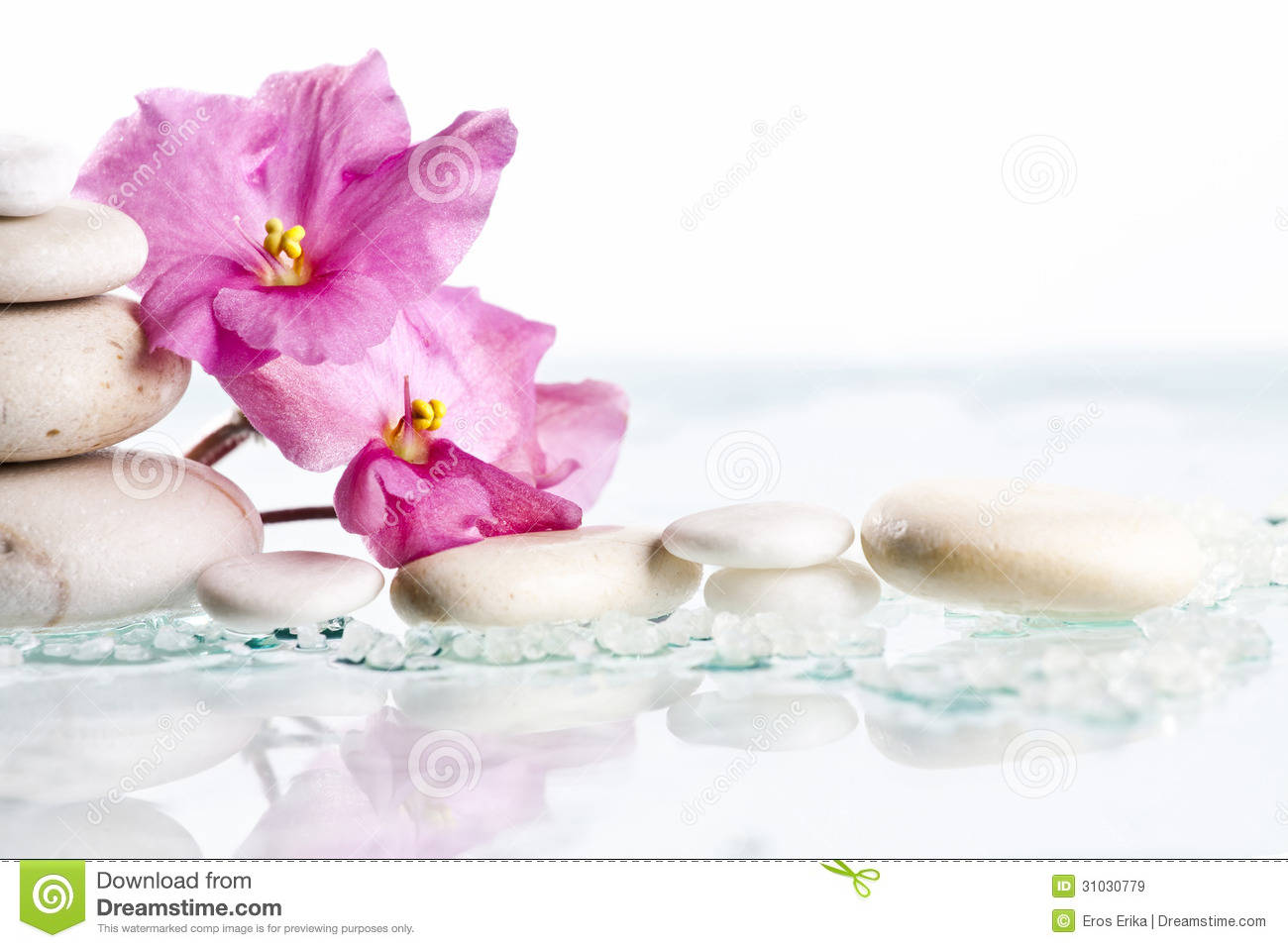 Spa Stones And Pink Flower On White Background Royalty Free Stock ...