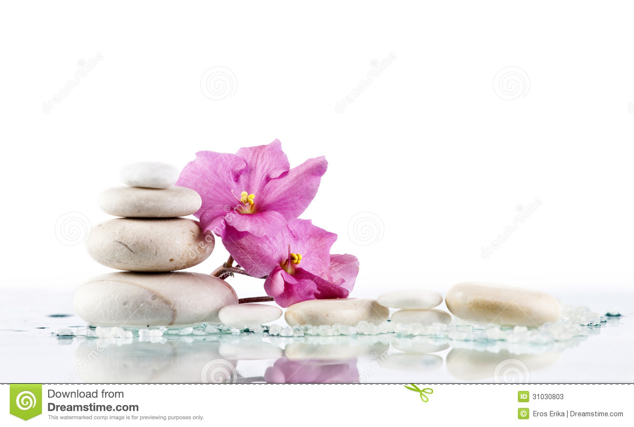 Spa Stones And Pink Flower On White Background Stock