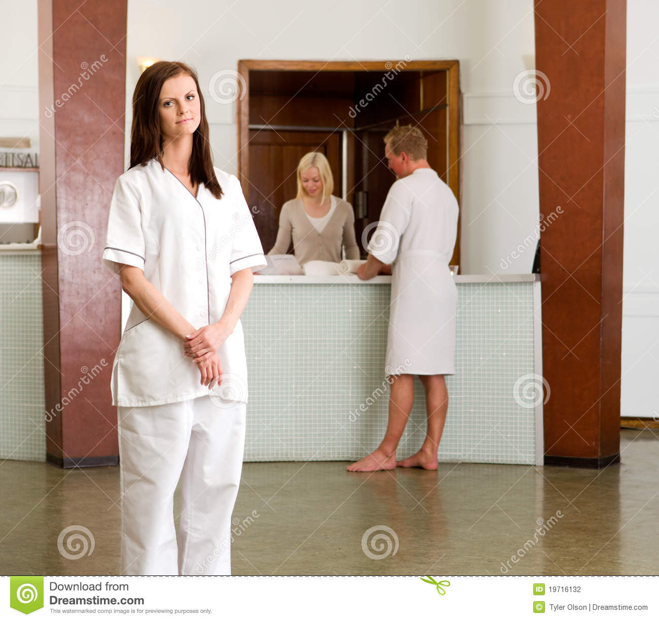 Spa therapist portrait stock photo image of profession for Spa uniform europe