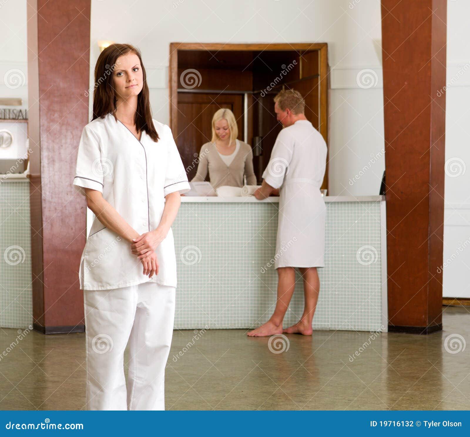 Spa therapist portrait stock photo image of profession for Spa employee uniform