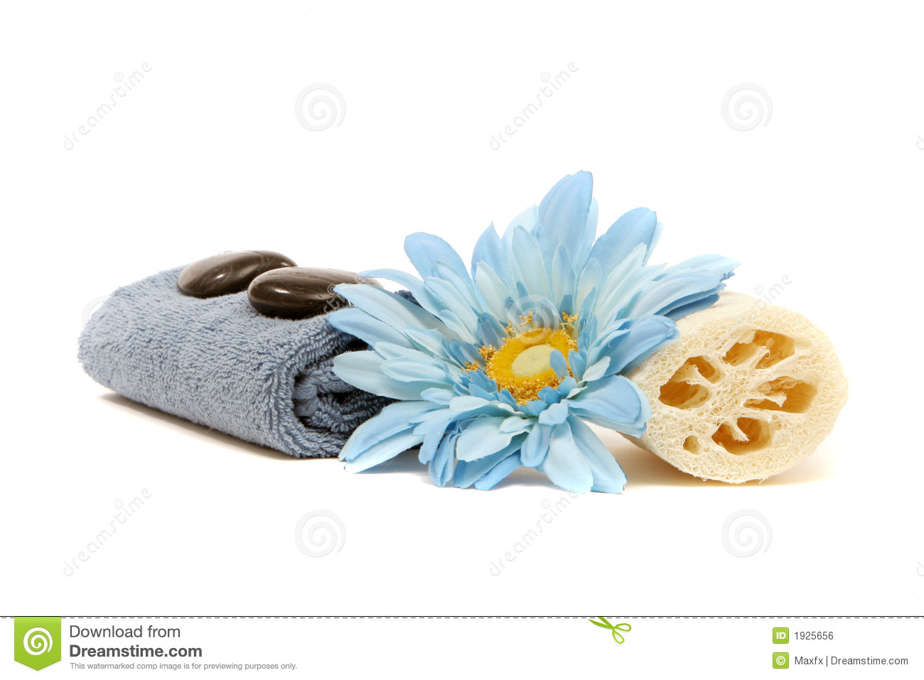 Spa Towel Loofah Flower And Rocks Royalty Free Stock