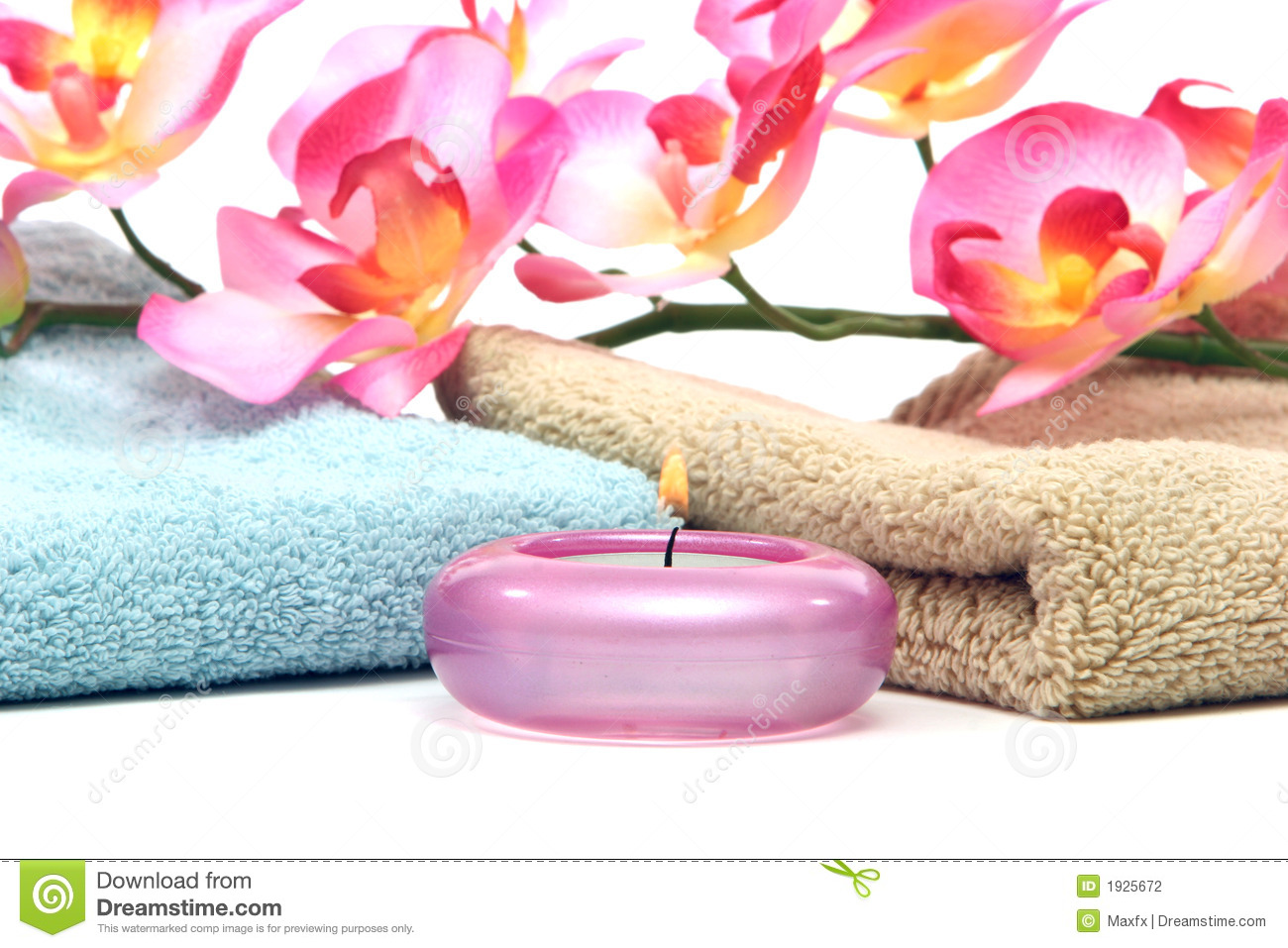 Spa Towels Candle And Pink Orchid Stock Photo Image Of