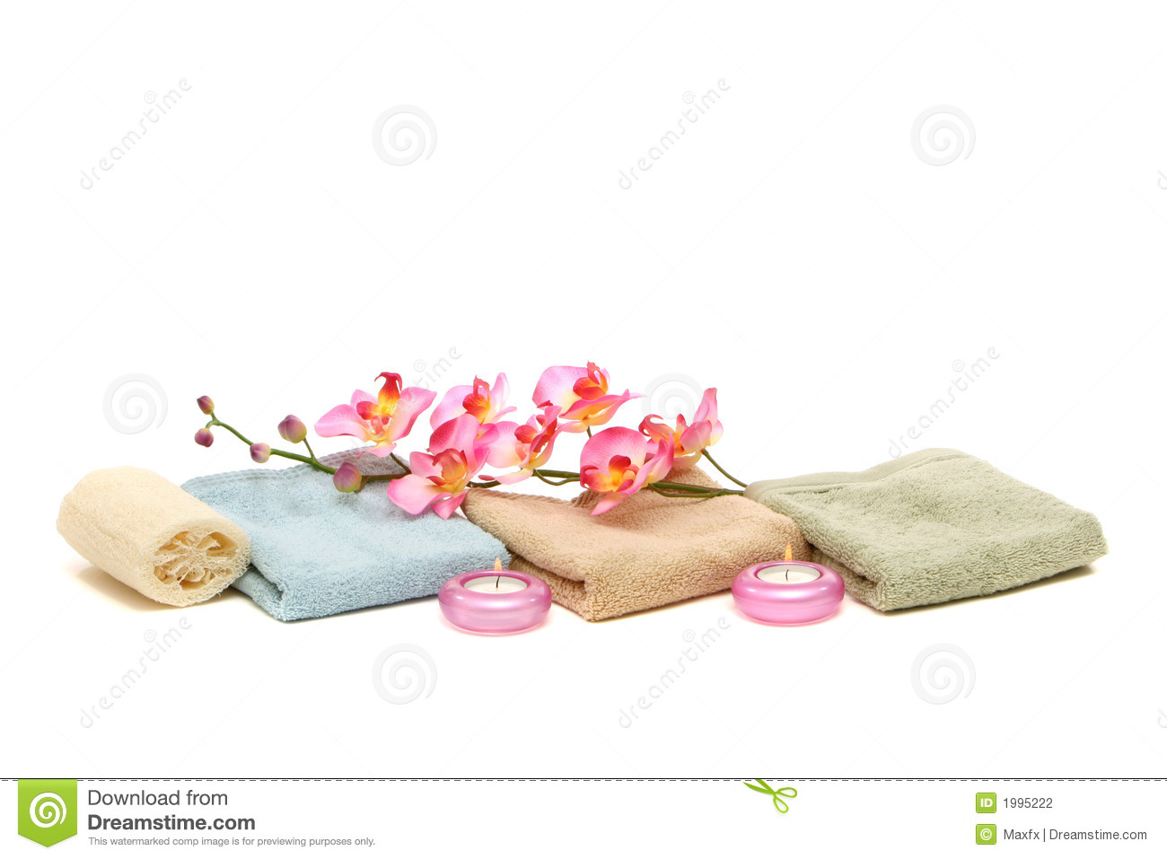 Spa Towels Candles Loofah And Pink Orchid Stock