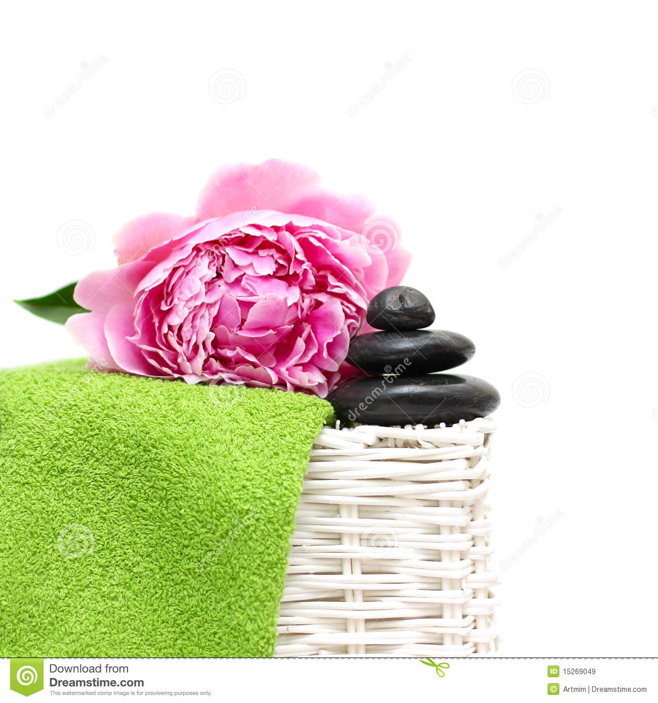 Spa treatment black stone green towel flower stock image image black stone green towel flower izmirmasajfo
