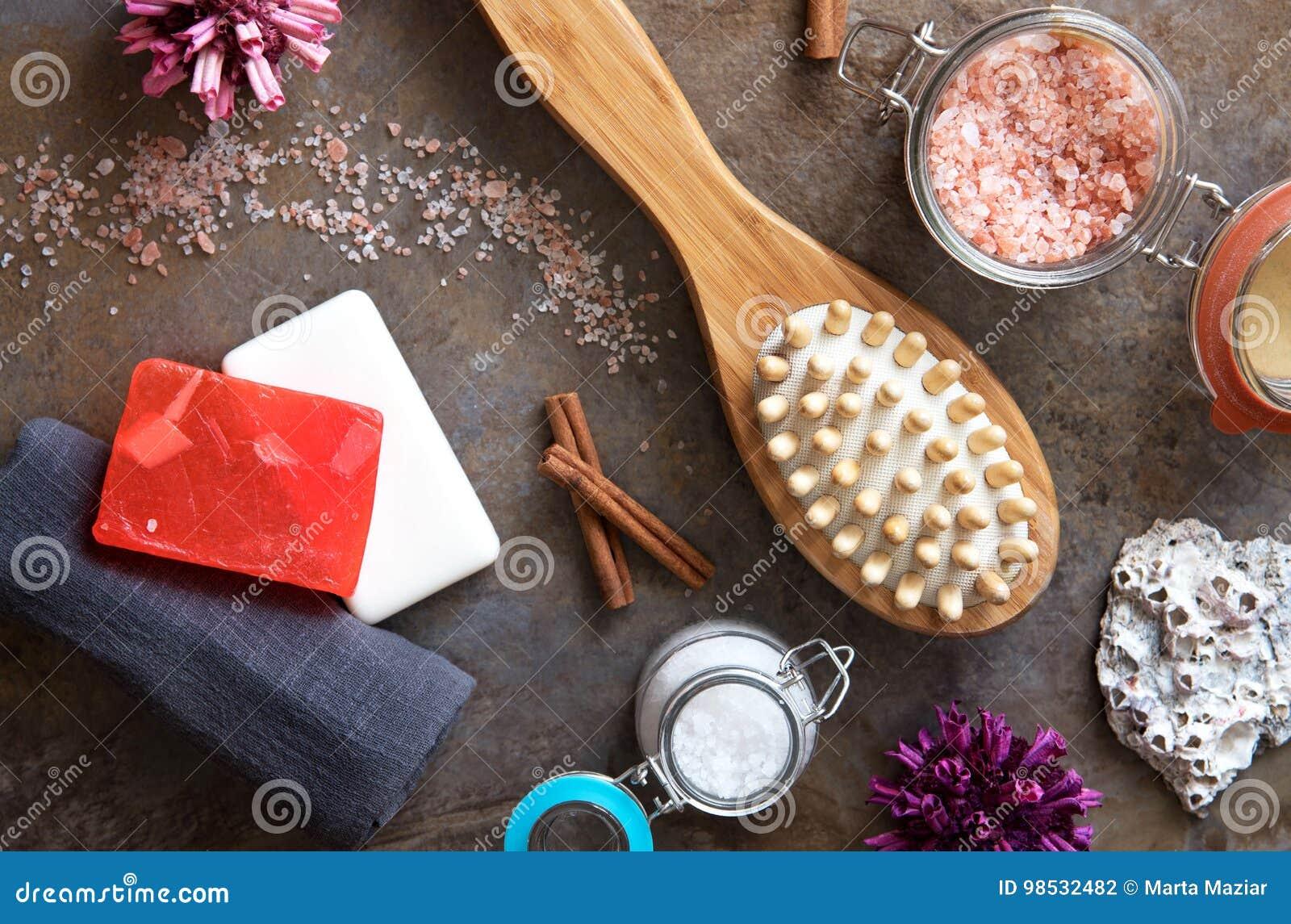 Spa And Wellness - Bath Brush, Towel, Sea Salt And Homemade