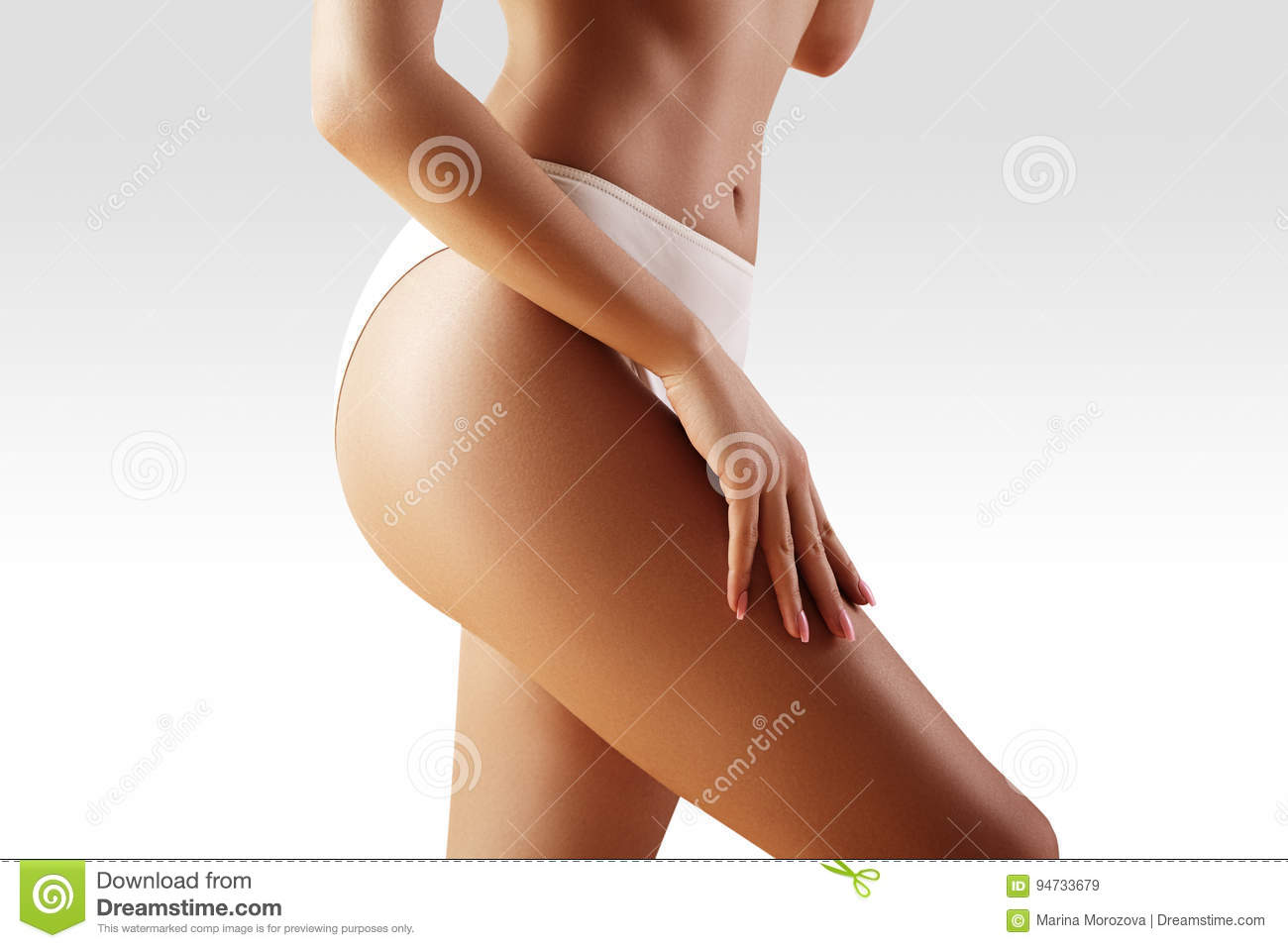 Spa, wellness. Healthy slim body. Beautiful hips. Fitness or plastic surgery. Perfect buttocks without cellulite