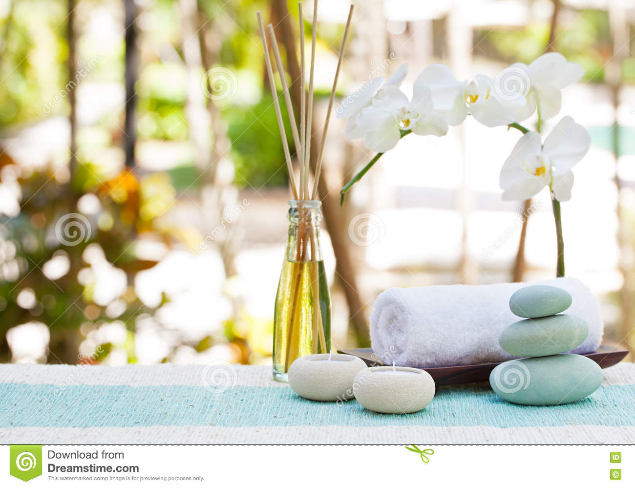 Spa And Wellness Massage Setting Still Life With Candle, Towel And ...