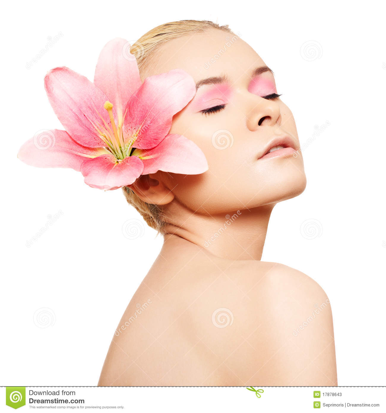 Spa Skin Care: Spa, Wellness, Skin Care. Beauty With Pink Make-up Stock