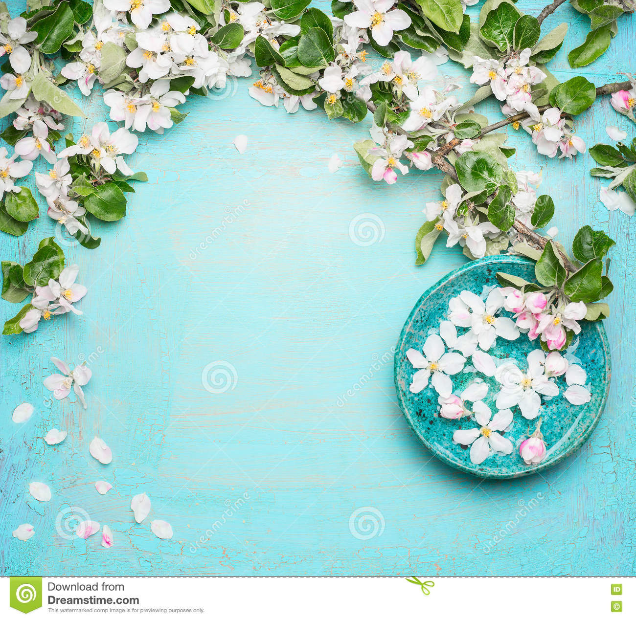 Spa or wellness turquoise background with blossom and for Salon turquoise