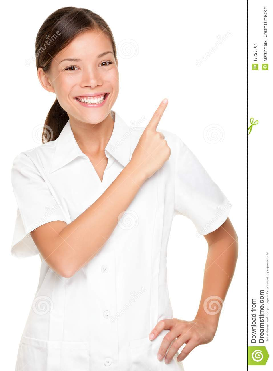 Spa woman employee pointing at white backgroud stock for Spa employee uniform