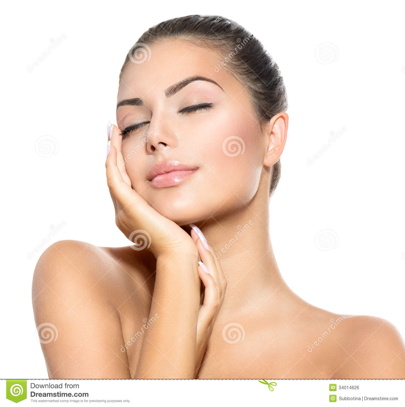 Spa Woman Touching Her Face Royalty Free Stock Image Image 34014626