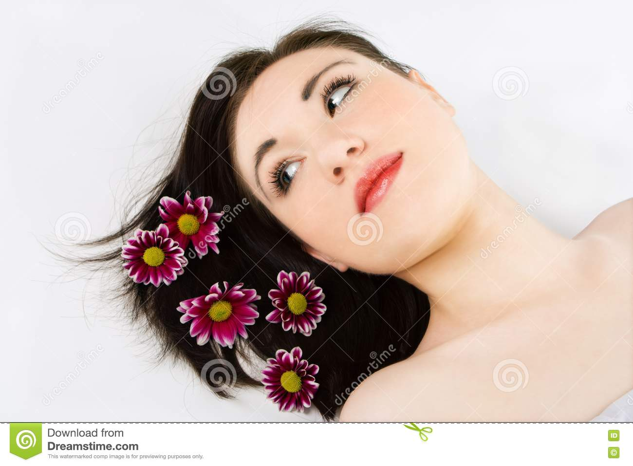 Spa Young Woman With Flower Chrysanthemum Picture Image