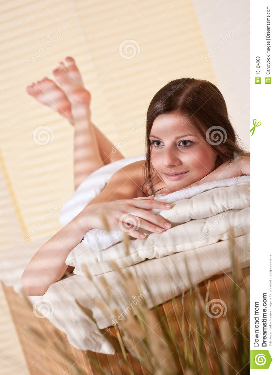 Spa young woman at wellness therapy royalty free stock for Salon younga
