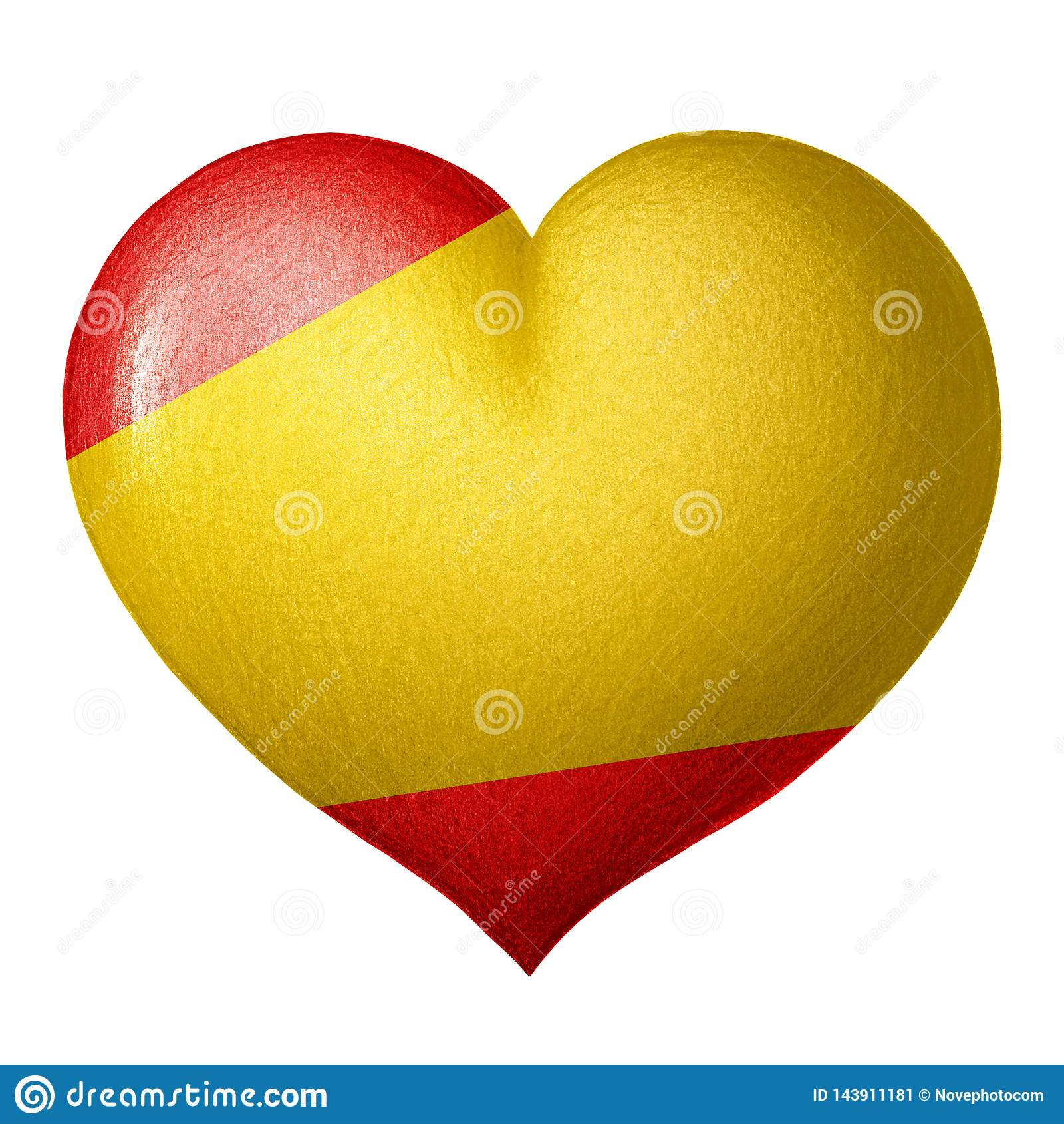 Spaans die vlaghart op witte achtergrond wordt geïsoleerd