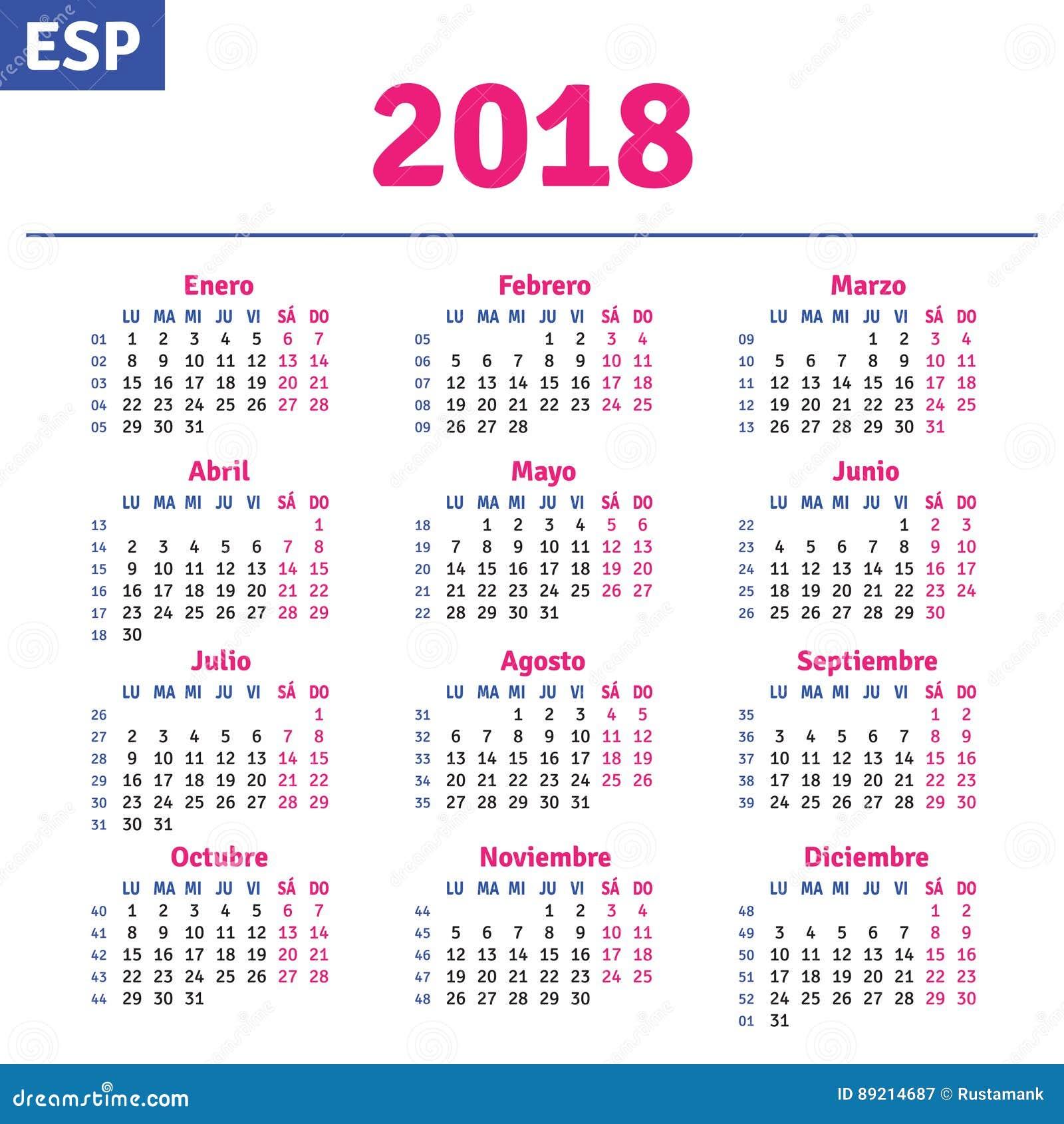 Calendarios 2018 Con Festivos