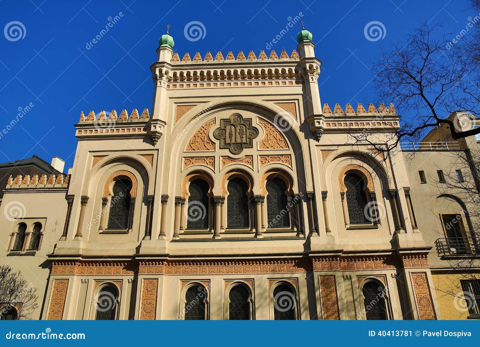 spaanse synagoge de architectuur van de oude huizen oude stad praag tsjechische republiek. Black Bedroom Furniture Sets. Home Design Ideas