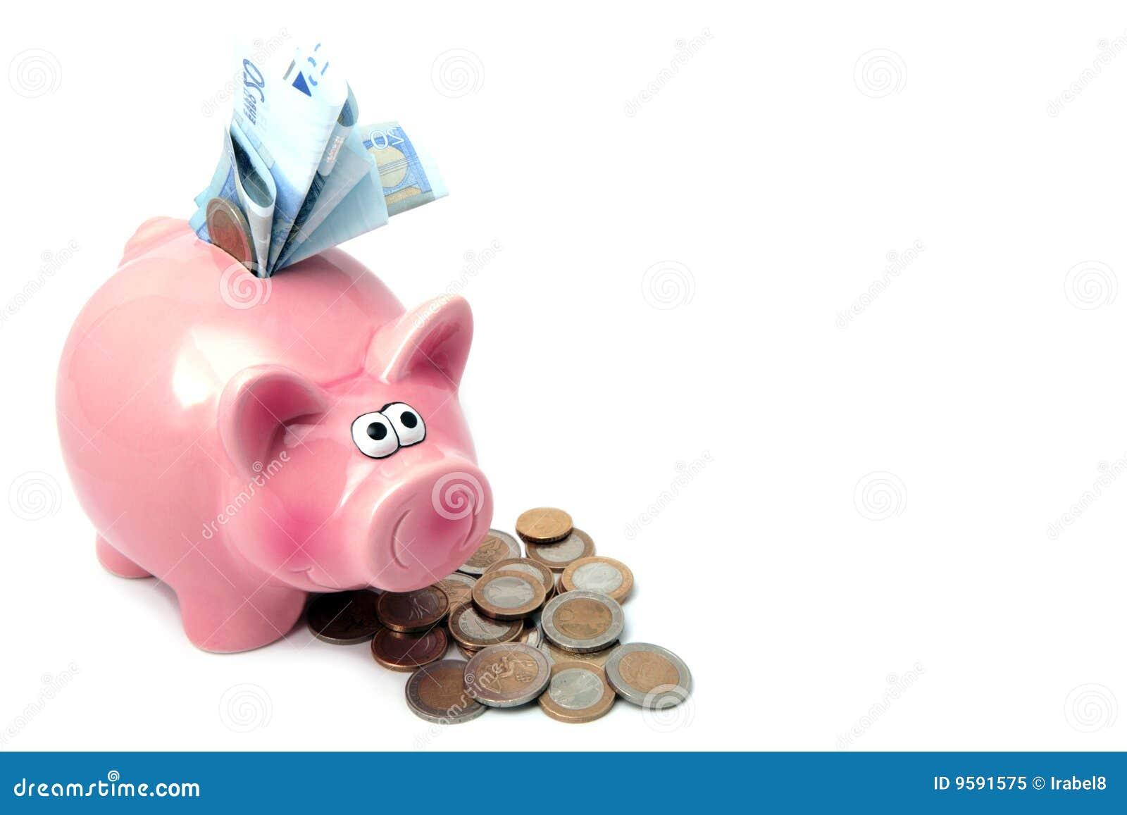 Citaten Met Geld : Spaarvarken dat met geld wordt gevuld stock afbeelding
