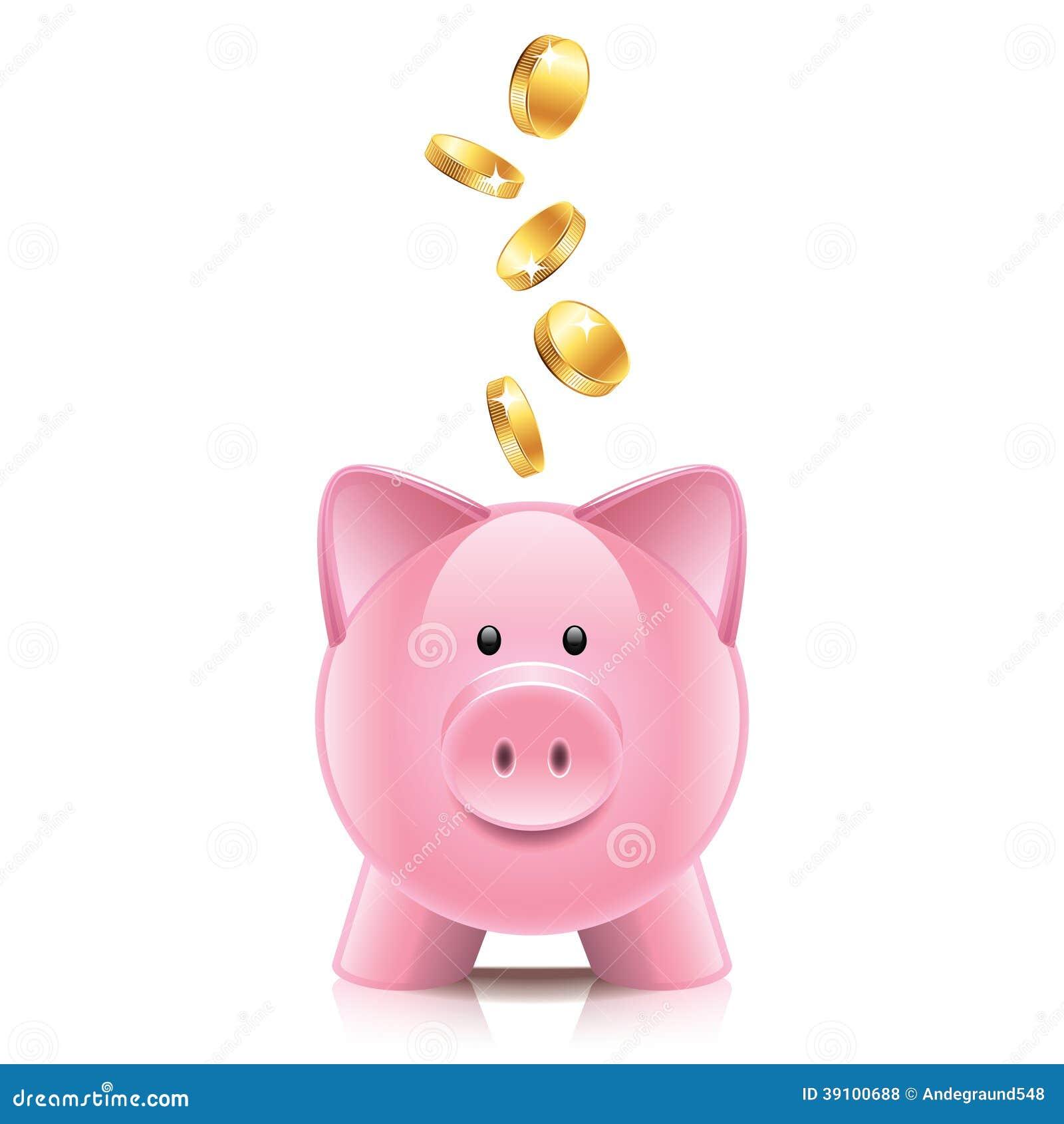 Spaarvarken en muntstukkenillustratie