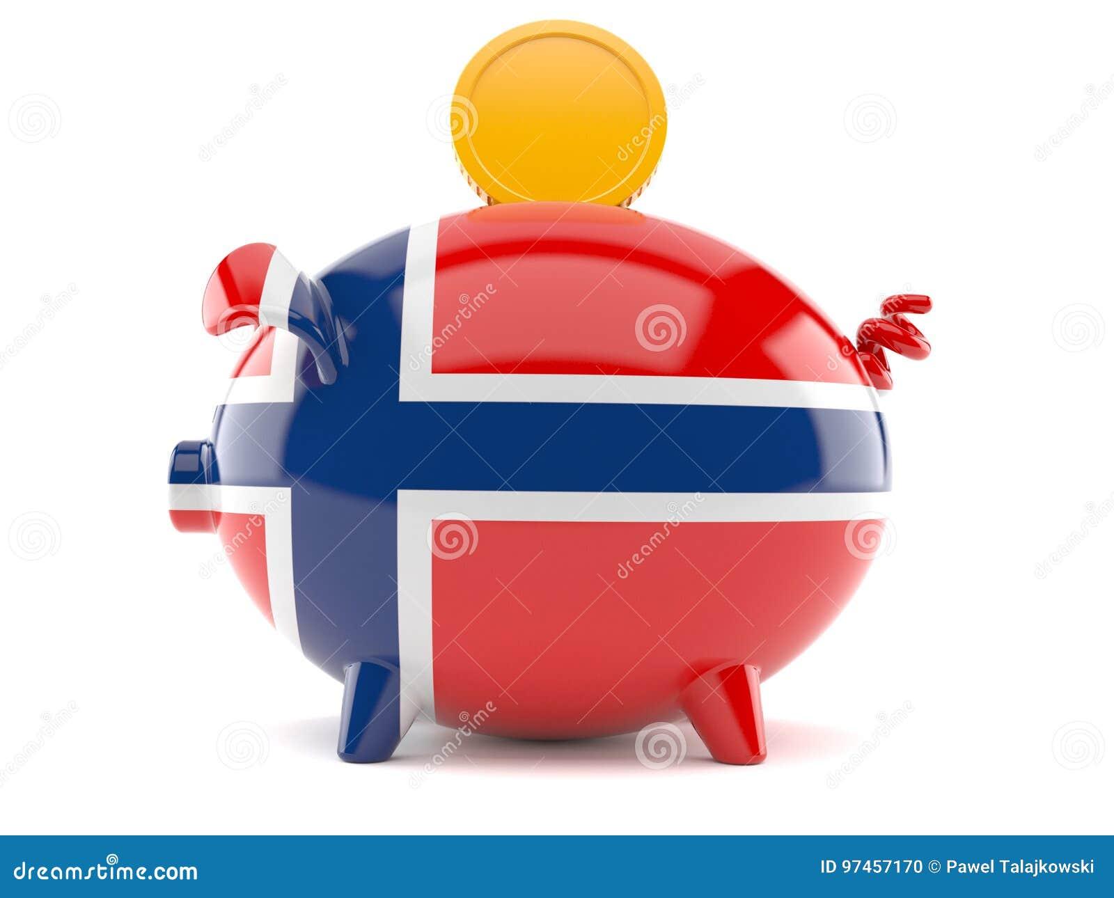Spaarvarken in Noorse vlag met muntstuk
