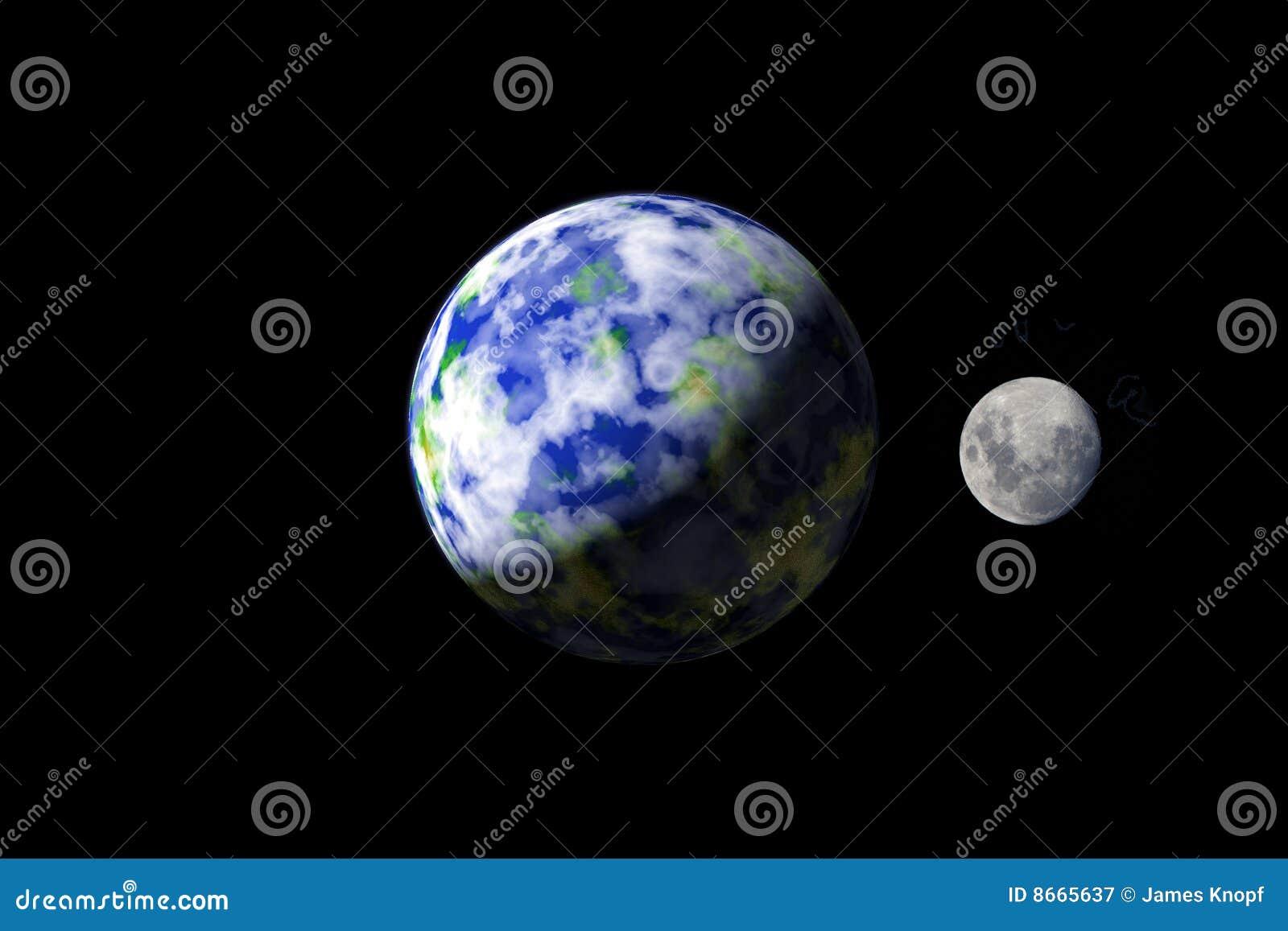 Spacae extérieurs de lune de la terre