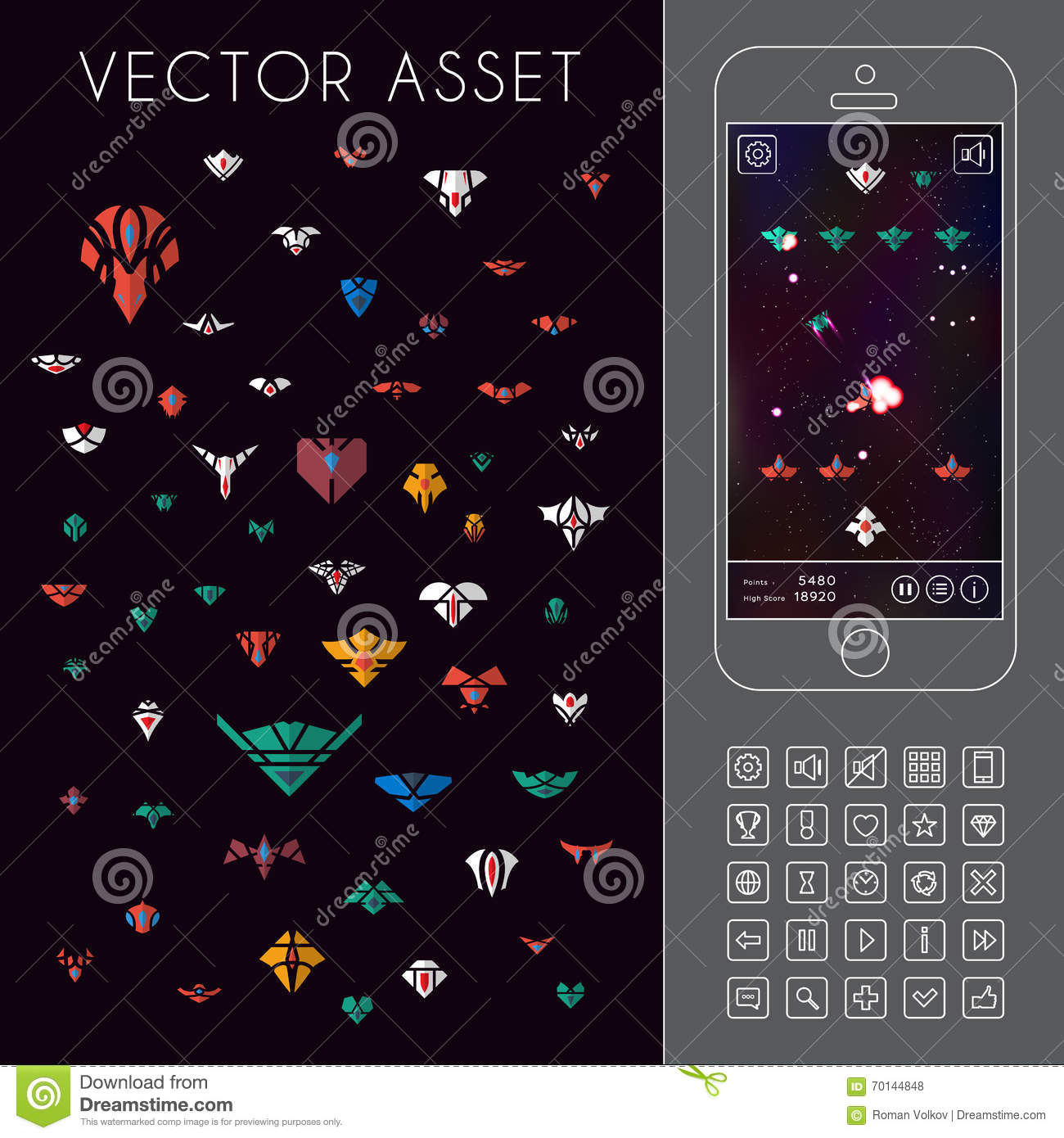 Space Arcade Game  Vector Asset Stock Vector - Illustration of
