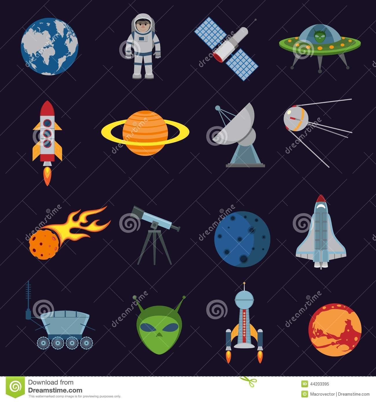 space and astronomy icons stock vector image of