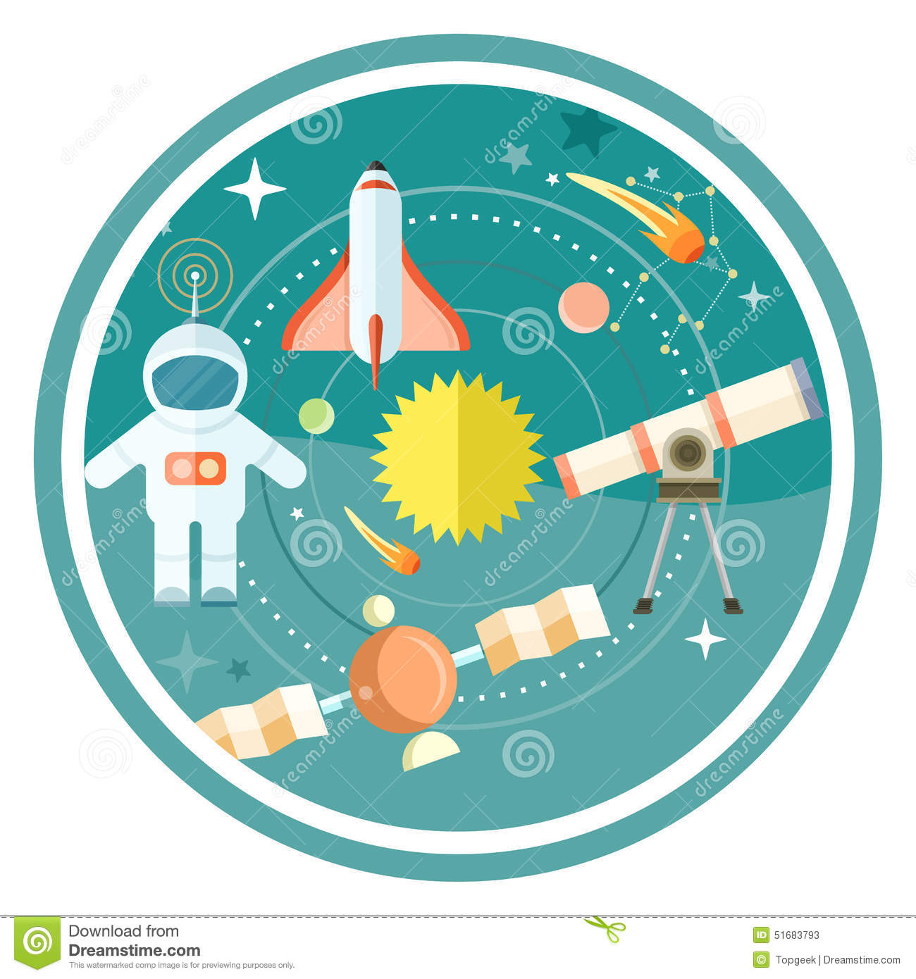... astronaut. Concept in flat design cartoon style on stylish background