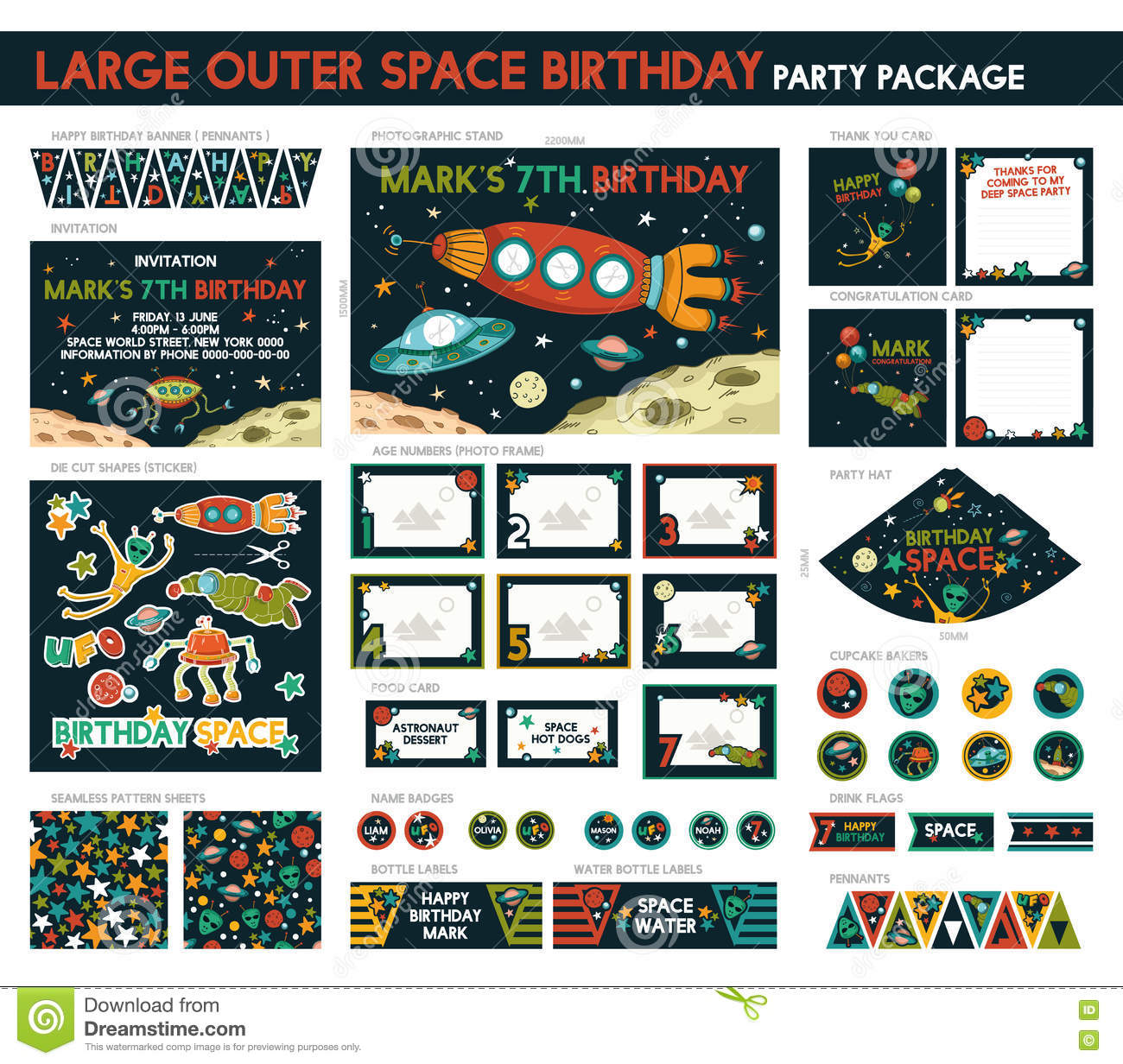 Large Outer Space Birthday Party Package Set Printable Invitation Included