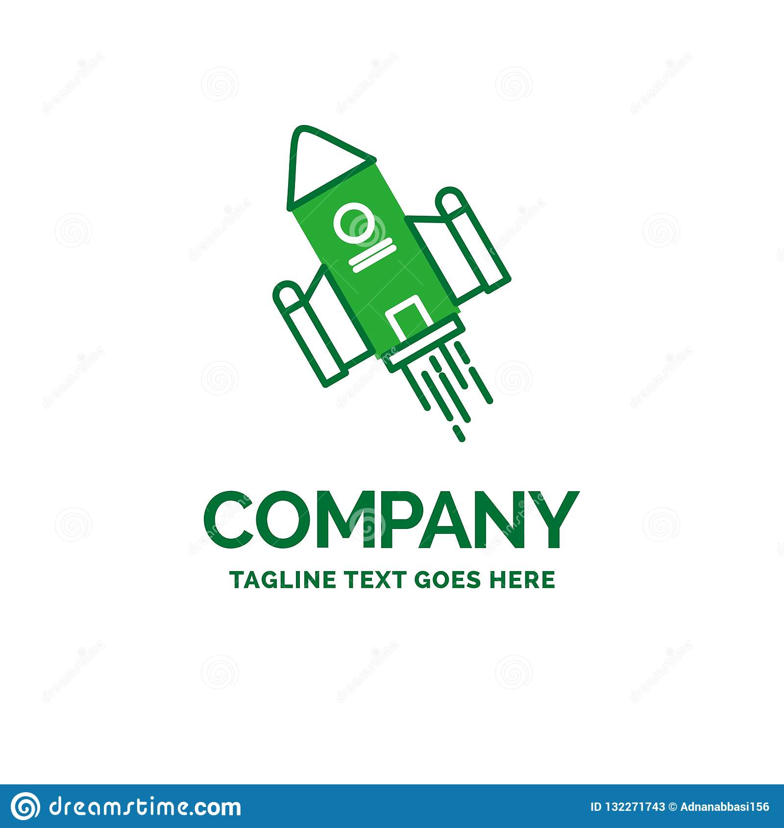 Space Craft Shuttle Space Rocket Launch Flat Business Logo T