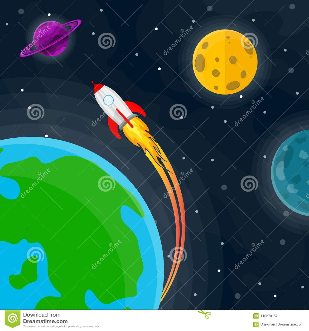 Space Cute Background Vector Illustration Stock Illustration