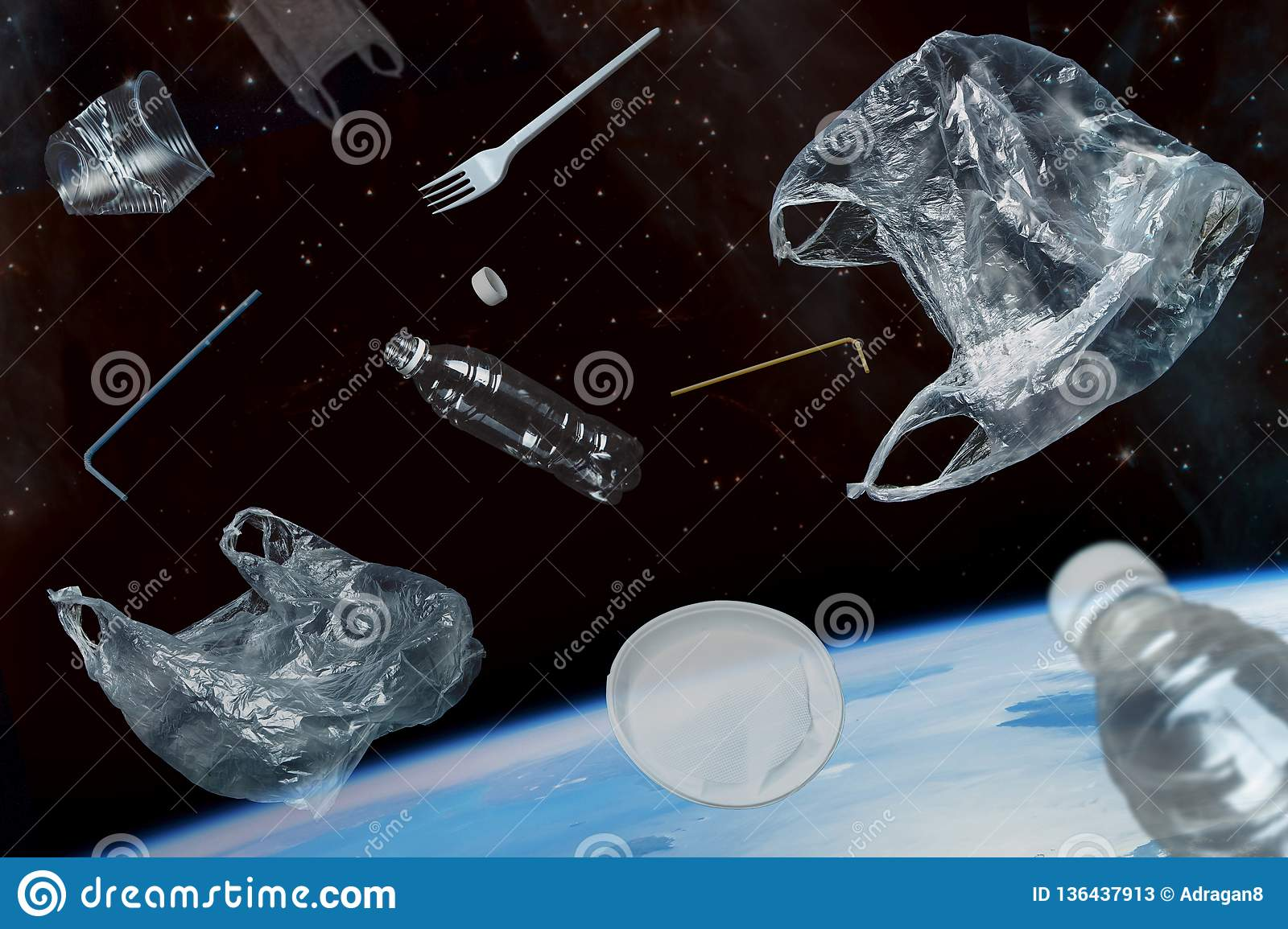 Space debris of planet Earth. Plastic debris in space. Elements of this image furnished by NASA.