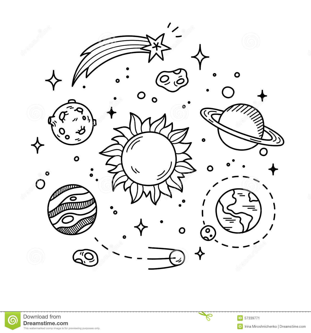 ... other outer space objects. Cute and decorative doodle style line art