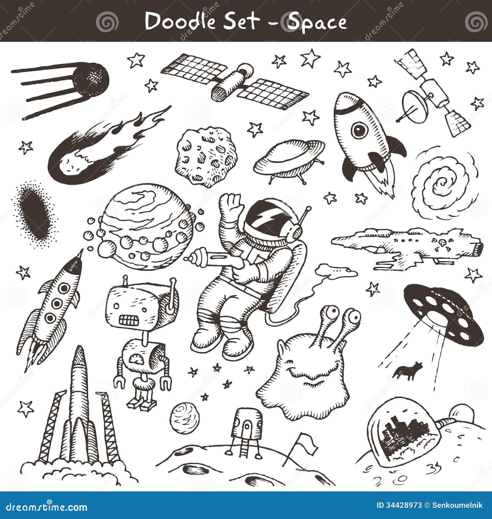 Big set of hand drawn space doodles. Vector illustration.