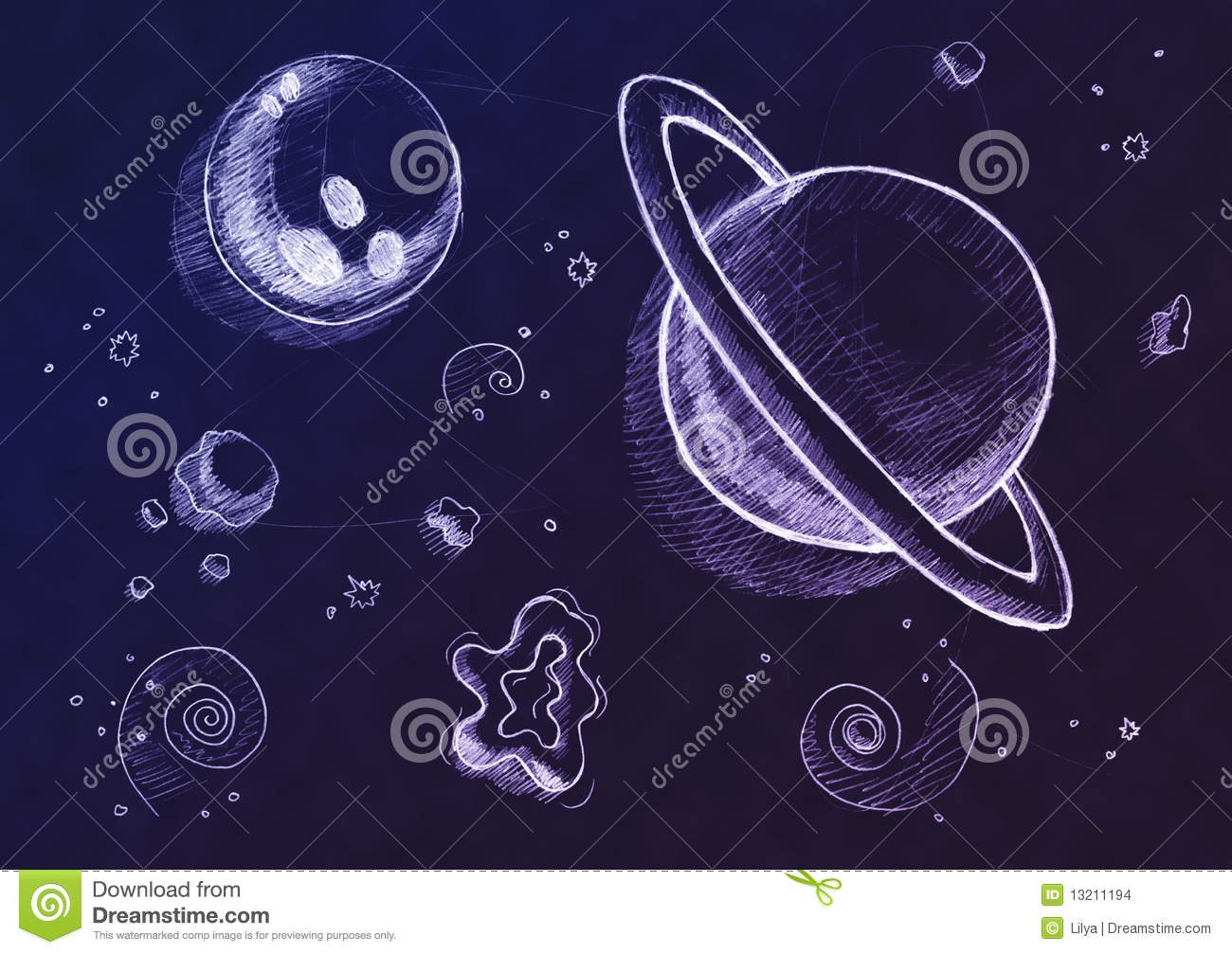 Space Drawing Background Stock Images Image 13211194