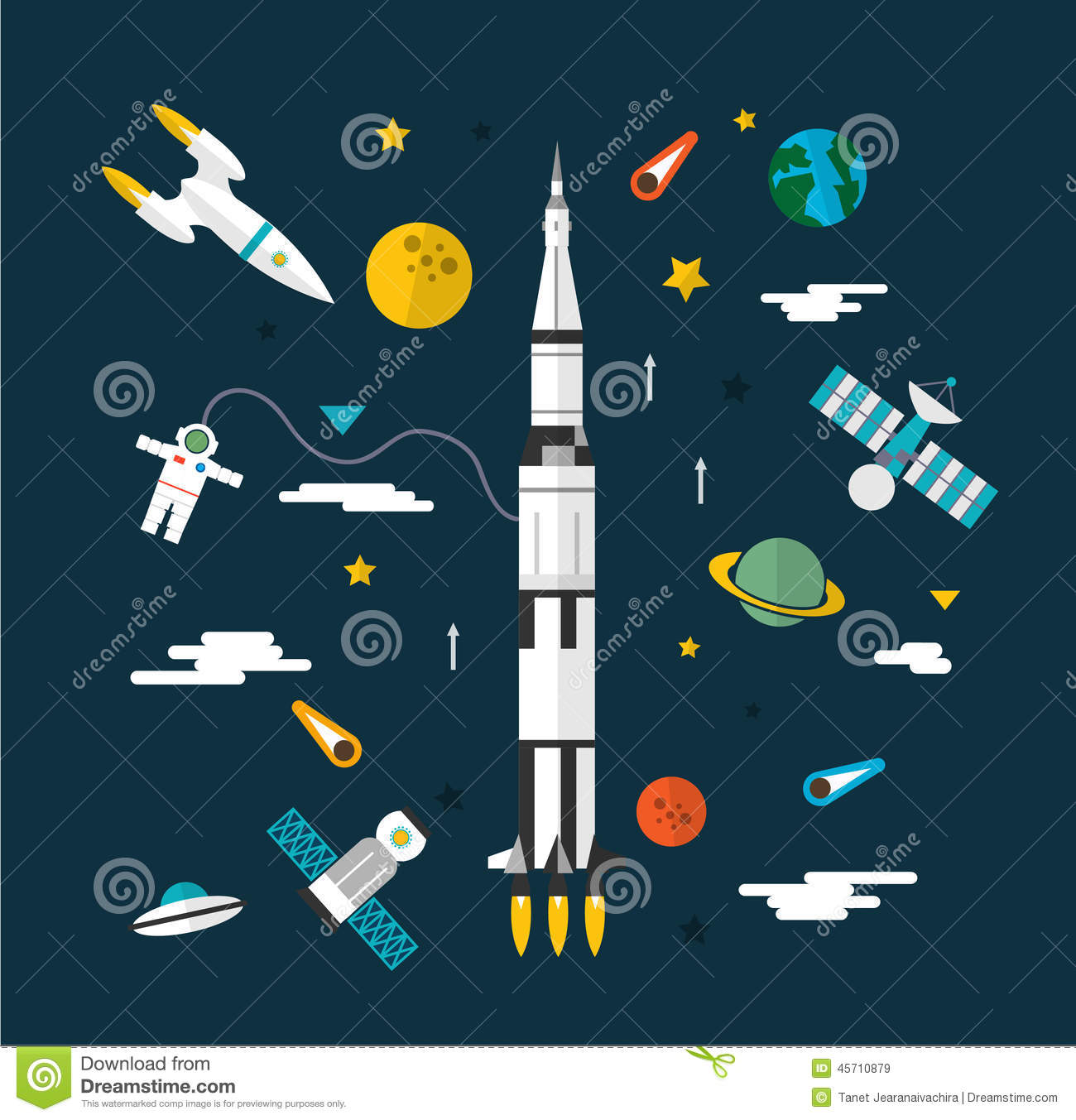 space flat icon set stock vector image 45710879