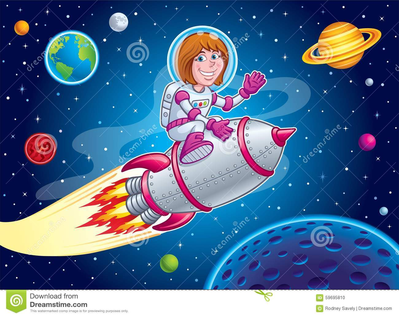 Space Girl Riding On Top Of A Rocket Ship Stock Photo ...