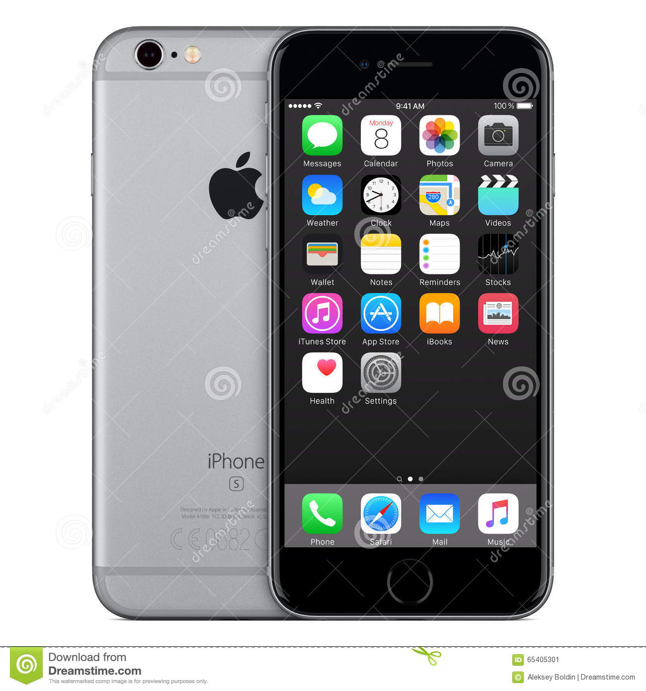 space gray apple iphone 6s front view with ios 9 on the screen editorial photo image 65405301. Black Bedroom Furniture Sets. Home Design Ideas