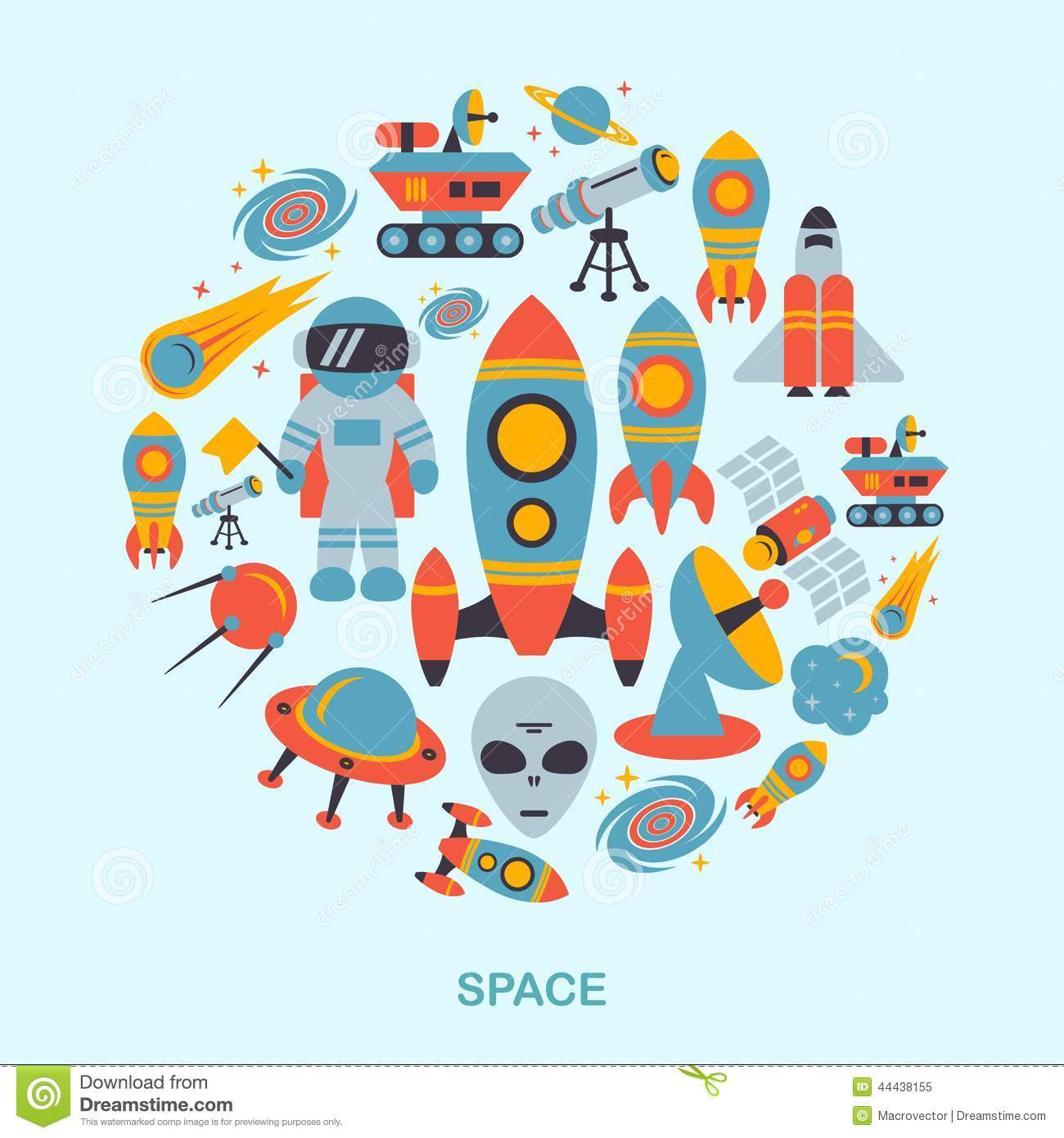 Space Management Icon : Space icons flat stock vector image