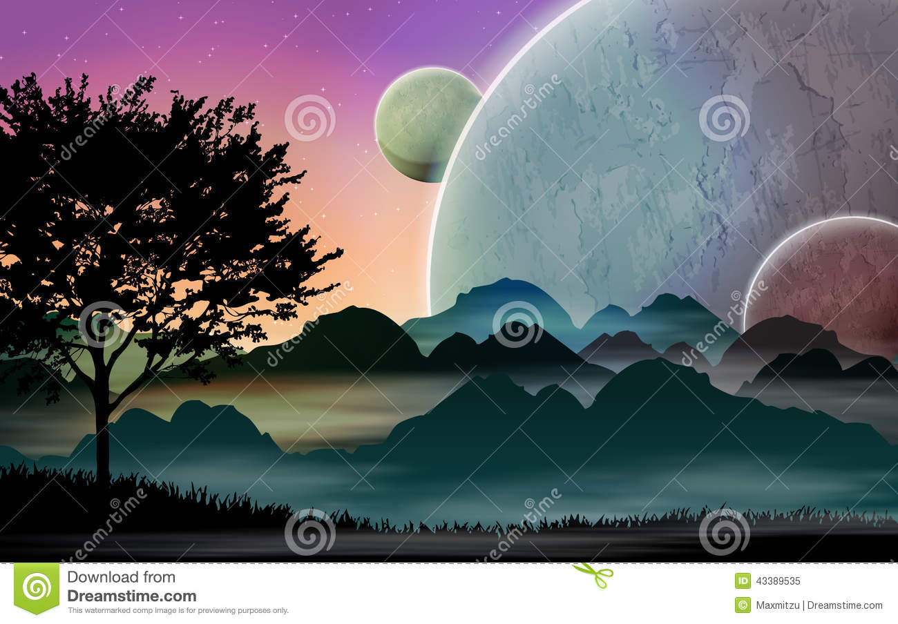 Space landscape cartoon vector 43389535 for Space landscape