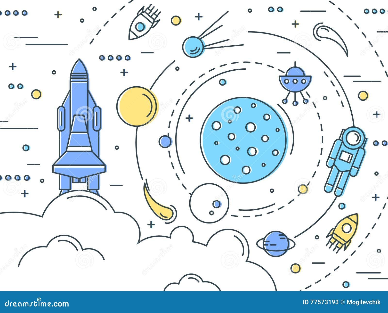 Astronaut line design royalty free cartoon cartoondealer for Space art design