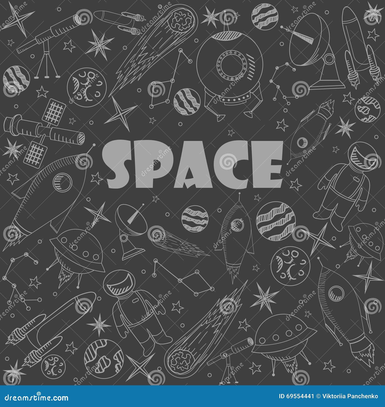Space line art design vector illustration cartoon vector for Space art design
