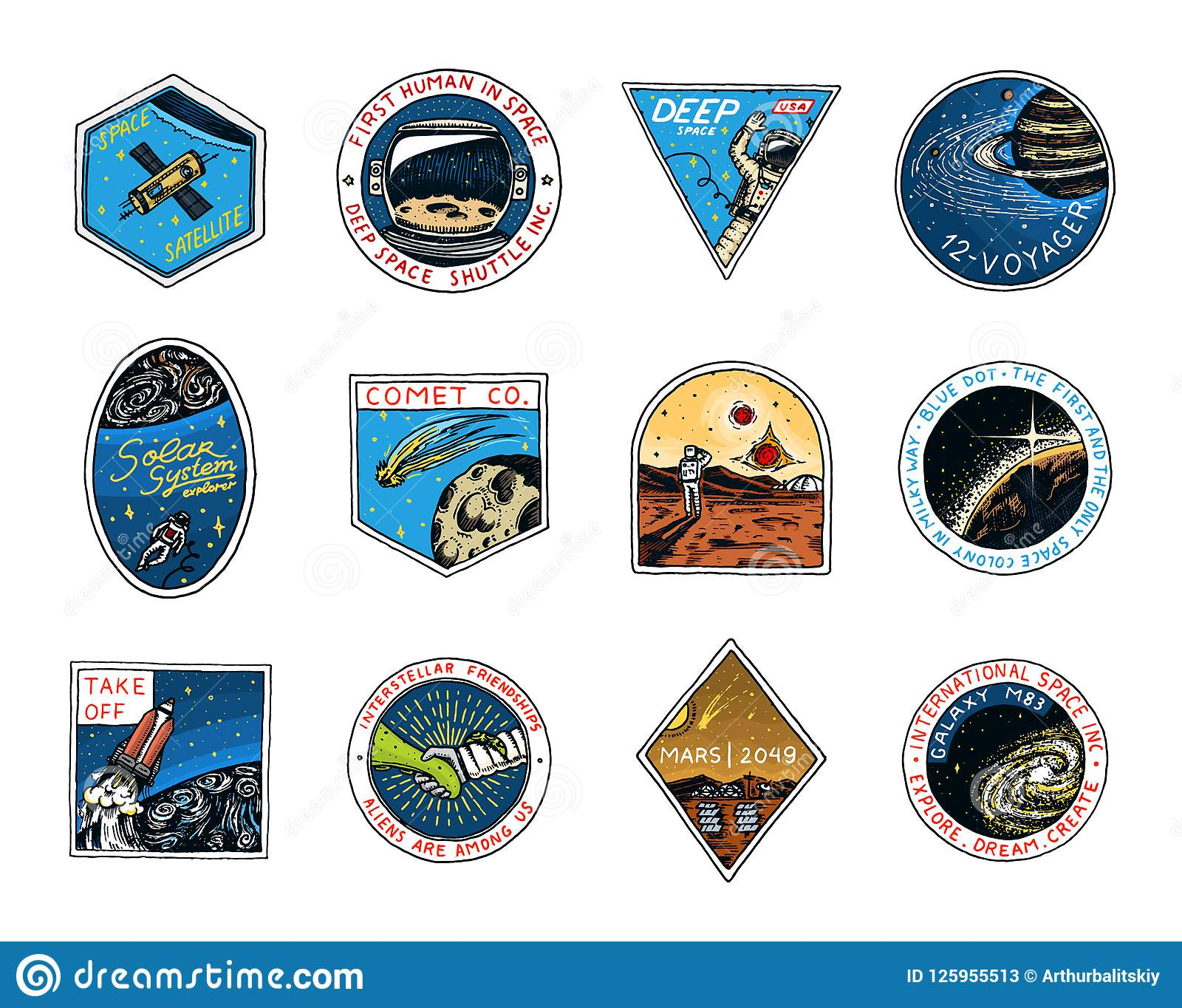 Space logo. Exploration of the astronomical galaxy. Mission Mars. Astronaut or spaceman adventure. Planets and