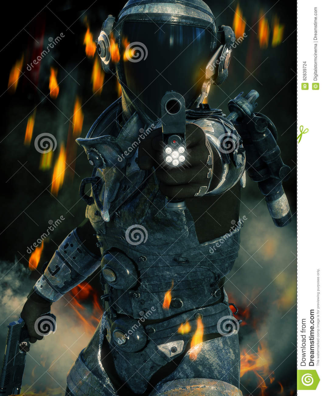 Space Marine in action aiming his weapon at the camera with sparks, smoke and fire in the background.