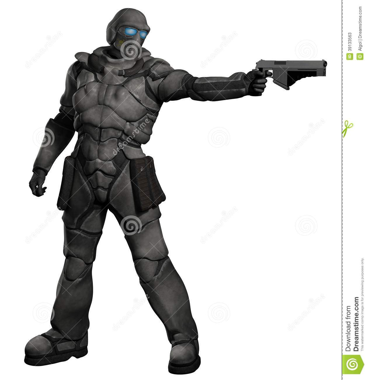 Space Marine Trooper With Pistol Stock Illustration