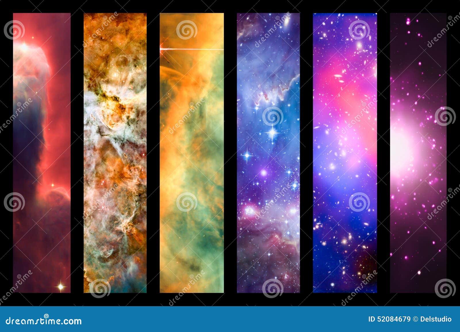 Space nebula and galaxy rainbow collage