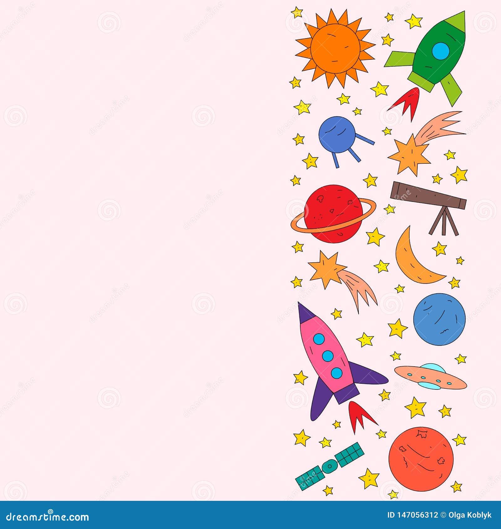 Space objects rocket, planet, star, comet, ufo, satellite