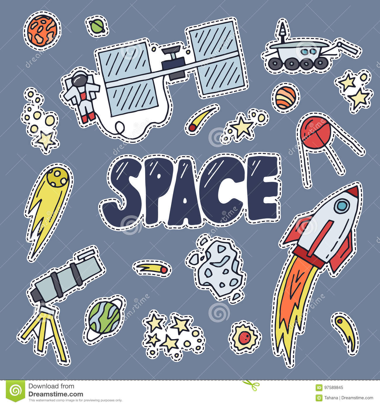 Space patch vector illustration. Cosmos discovery and exploration poster.  Doodle style, cartoon design